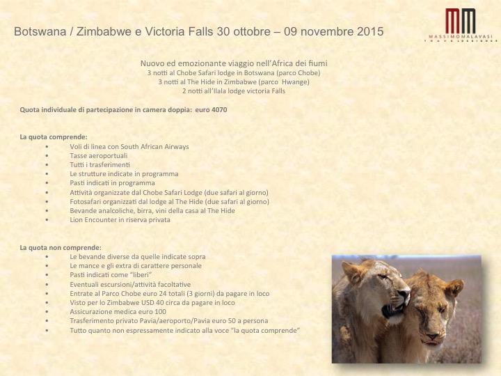 Slide Viaggi Botswana Zimbabwe ottobre novembre 2015